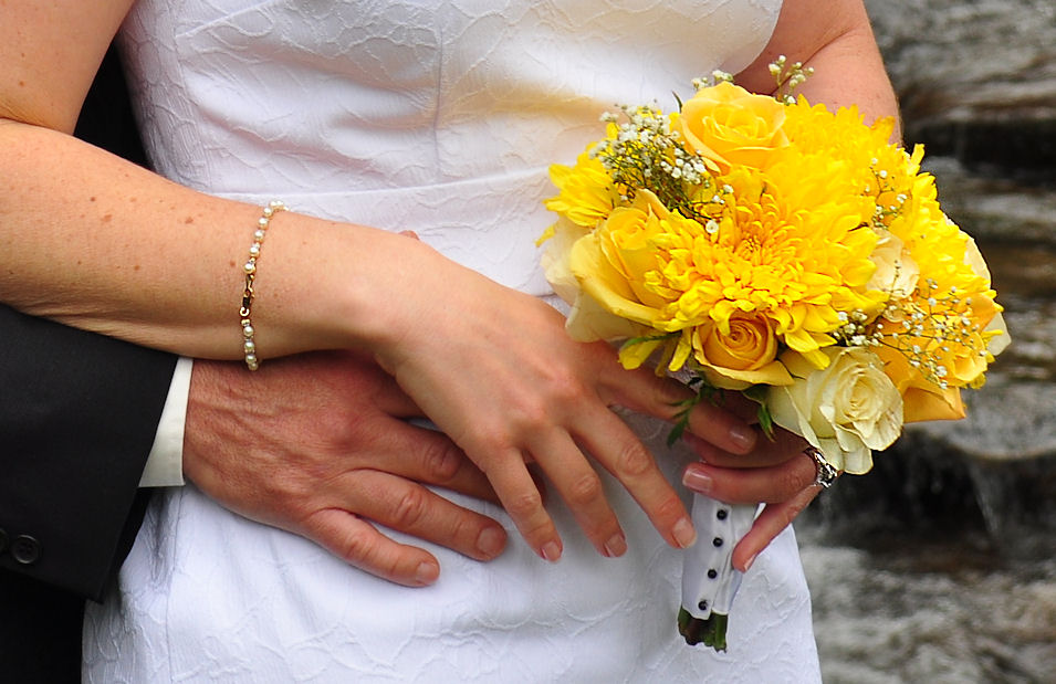 A yellow wedding bouquet