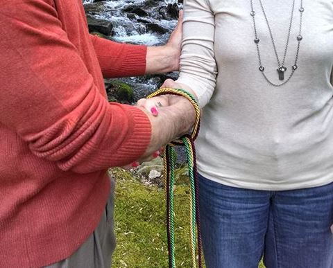 Handfasting cords: burgundy, gold, and green